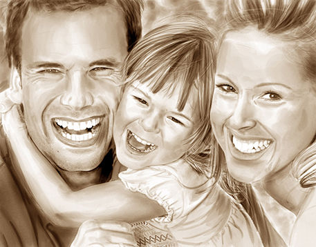 Image of smiling family that was converted from a photograph into a sepia toned art image.