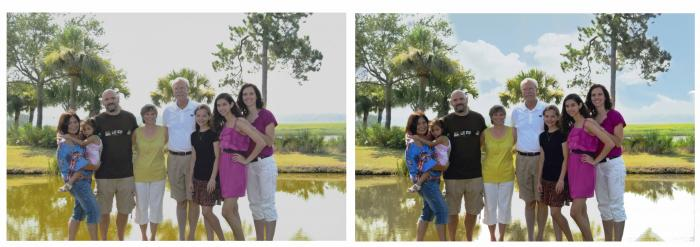 before and after family on water