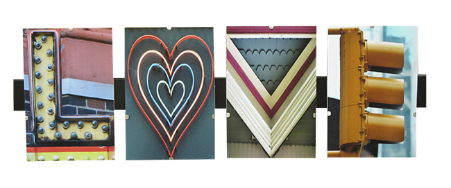 Art Gift. Four tiles with images that spell out the word LOVE