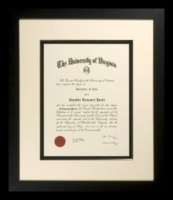 Dramatic University of Virginia Diploma