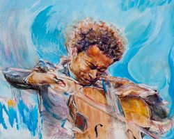 Dalton Brown mixed media painting of cellist