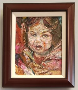 Dalton Brown acrylic painting of girl in pink coat