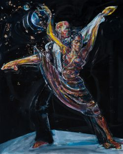 Acrylic painting of couple dancing by Dalton Brown
