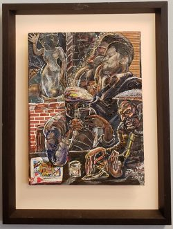 mixed media image of card players and saxophonist by Dalton Brown