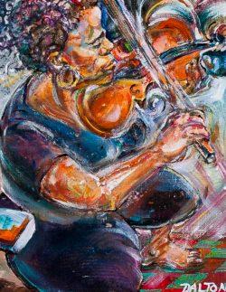 Dalton Brown Acrylic painting of Black violinist