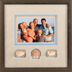 photo of family on beach with seashells