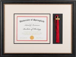 framed diploma with tassel