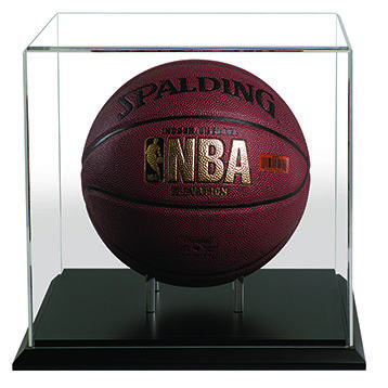 Acrylic display case that contains a full sized basketball