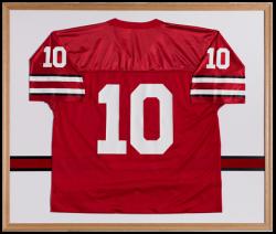 Framed red football jersey