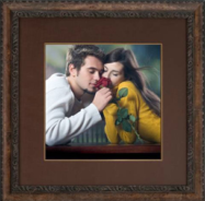 framed couple with rose