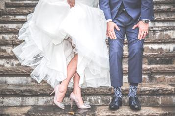 Wedding couple shoes