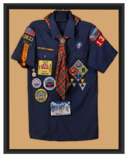 framed boy scout uniform