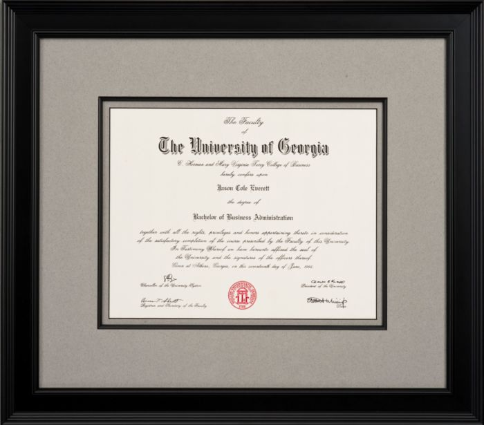 framed diploma