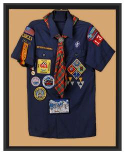 framed boy scout uniform