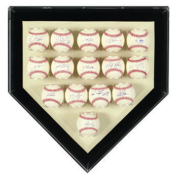 Acrylic display case in the shape of a baseball home plate. The case contains 15 signed baseballs.