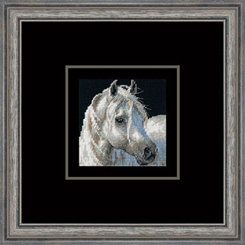 Framed needle art of horse