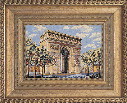 Framed image of a cross stitch landmark