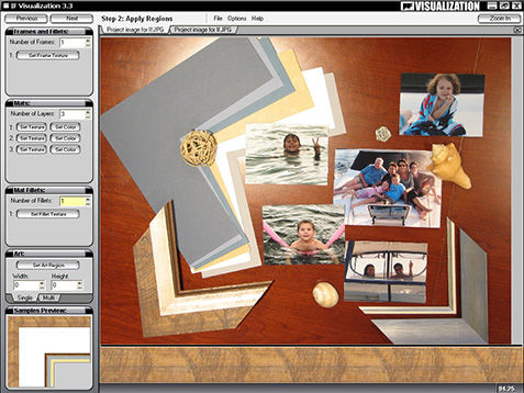 Computer screen showing the steps for a framing visualization program