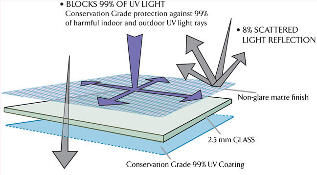 Schematic of how light impacts TruVue Conservation Reflection Control Glass