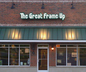 The Great Frame Up storefront with awning.