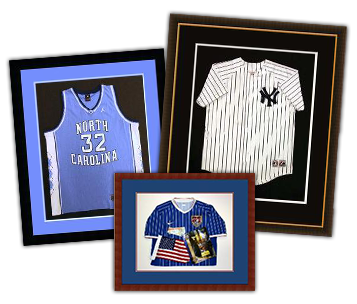 Picture of three custom framed jerseys on display
