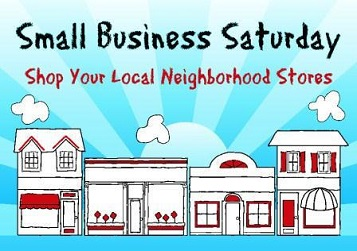 Small business Saturday graphic. Shop local.