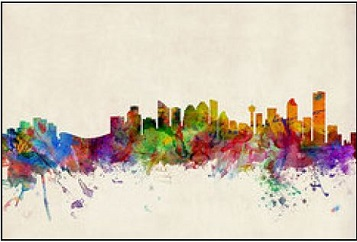 Toronto skyline abstract colors