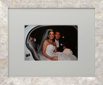 Wedding, Framing, Decor Wedding couple in car beautifully custom framed in oyster shell frame.