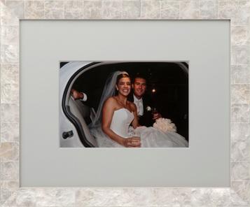 Wedding, Framing, Decor Wedding couple in car beautifully custom framed in oyster shell frame.