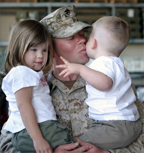 soldier with kids