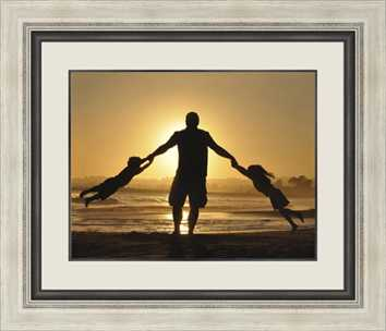 family sunset framed image