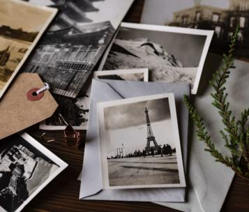 Pictures Strewn on a table