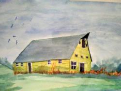 Watercolor of barn by artist Sue Smith