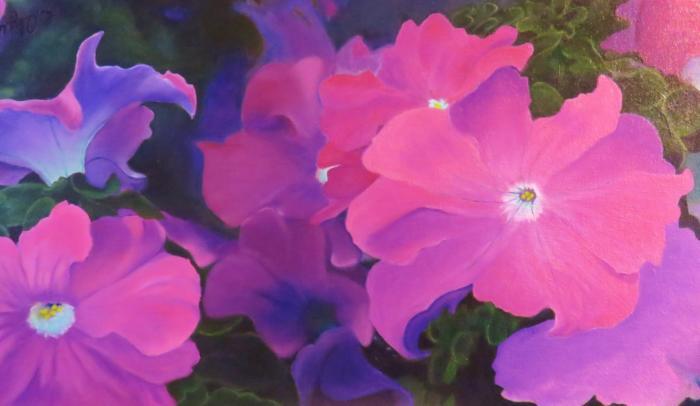 original floral paintings by Winnipeg artist Linda Olzewski